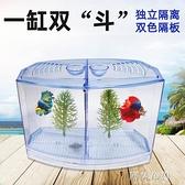 魚缸 斗魚隔離盒塑料斗魚盒觀賞魚缸小型斗魚缸飼養繁殖孵化單雙格魚缸 MKS阿薩布魯