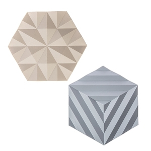 (組)丹麥ZONE FOLD系列幾何矽膠鍋墊-櫸木黃+晴空藍