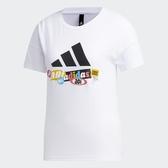 Adidas Urban Story 女裝 短袖 T恤 落肩 羅紋圓領 拼貼印花 棉 白【運動世界】GK8684