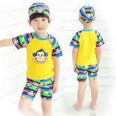 兒童泳衣中大童男童分體 卡通可愛帶帽套裝游泳裝備兒童泳褲   XY1443  【男人與流行】