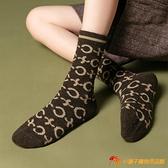 羊毛襪子女中筒襪加厚加絨長襪保暖字母堆堆襪【小獅子】