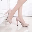 85折免運-高跟鞋圓頭鞋大尺碼女鞋工作鞋防水台白色小尺碼皮鞋高跟鞋細跟10cm單鞋潮