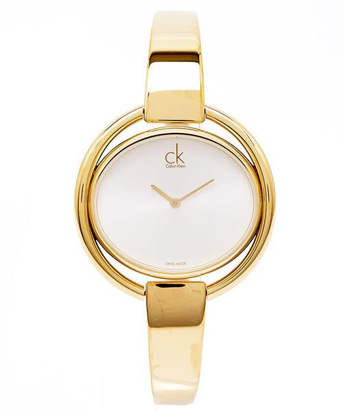 CK Calvin Klein Impetuous 狂熱自由環形金色女性手錶飾品( K4F2N516) -銀面X金色/39mm