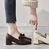 BL百儷單鞋女中跟2021春款粗跟高跟鞋女百搭方頭兩穿豆豆鞋 快速出貨