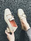 新品粗跟單鞋女新款春季方頭高跟鞋百搭中跟...