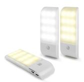 【超人生活百貨】AIBO USB充電式 迷你智能LED人體感應照明燈(LI-10) 強吸力磁鐵固定,容易安裝拆卸