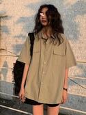 純色日式短袖襯衫女夏季韓版復古網紅上衣學生寬鬆工裝襯衣bf風潮 米娜小鋪
