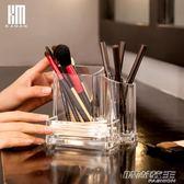 桌面收納盒名片盒筆筒整理盒透明亞克力化妝刷眉筆粉刷梳子      时尚教主