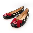 【GUCCI】珍珠/星星/蝴蝶結 娃娃鞋(黑色)GU51040001