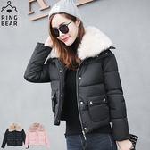 保暖外套--奢華貴氣高效暖意可拆式毛毛領排扣雙口袋羽絨棉外套(黑.粉XL-3L)-J315眼圈熊中大尺碼