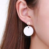 耳環 Joann喬安 925純銀鍍18k金耳釘 白貝母耳釘 韓版氣質銀耳釘防過敏  居優佳品