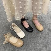 豆豆鞋 豆豆鞋女春季正韓百搭平底學生一字扣單鞋女鞋軟底奶奶鞋-Ballet朵朵