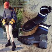 襪子靴彈力靴秋季短靴女春秋新款馬丁靴英倫風粗跟厚底機車靴