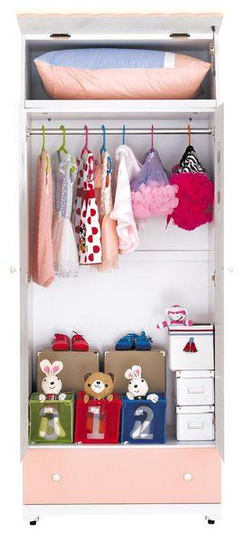 【森可家居】愛丁堡粉紅色衣櫥 8JX418-7 兒童 衣櫃 城堡童話 出清折扣