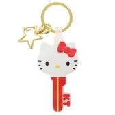 〔小禮堂〕Hello Kitty 大臉鑰匙造型矽膠鑰匙圈《紅白》掛飾.吊飾.鎖圈 4930972-49551