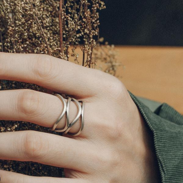 簡約多線銀戒指開口可調節復古食指戒指環手飾/設計家
