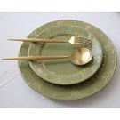 西餐盤 美式復古浮雕花紋陶瓷盤姜古典復古平盤家用餐盤西式!正常髪貨!【快速出貨八折下殺】