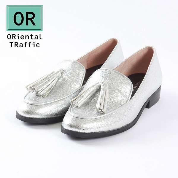 【ORiental TRaffic】經典流蘇綴飾樂福鞋-時尚銀