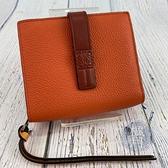 BRAND楓月 LOEWE 羅意威 經典 COMPACT 粉色 橘色 拚色 短夾 錢包 錢夾