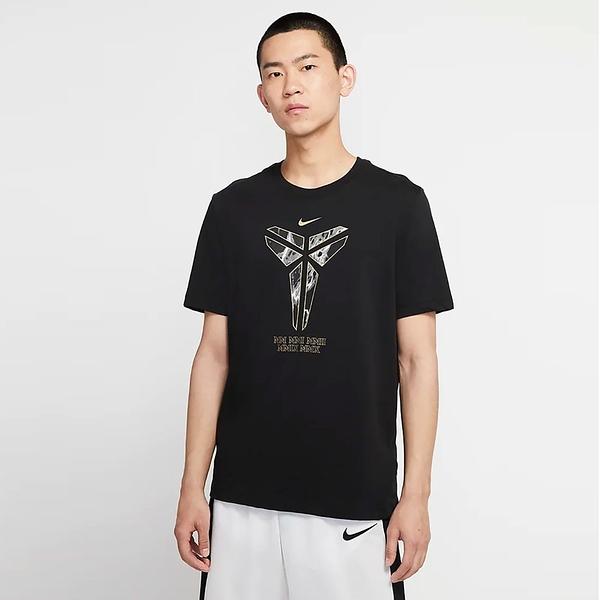 NIKE Dri-FIT Kobe Logo 男裝 短袖 籃球 休閒 傳奇 紀念 羅紋領口 印花 透氣 黑【運動世界】CD1327-010