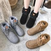 雪地靴女短筒新款冬季韓版棉鞋百搭學生加絨保暖面包鞋ins潮 遇見初晴