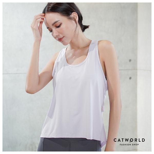 Catworld 側鏤空拼後網紗快乾運動背心【11602027】‧S/M/L