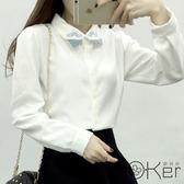 韓國小清新翹鬍子刺繡簡約款翻領襯衫 O-Ker LL90172-C