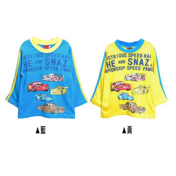 長袖 棉 T恤 上衣 迪士尼Disney臺灣制Cars麥坤純棉休閒 藍 黃