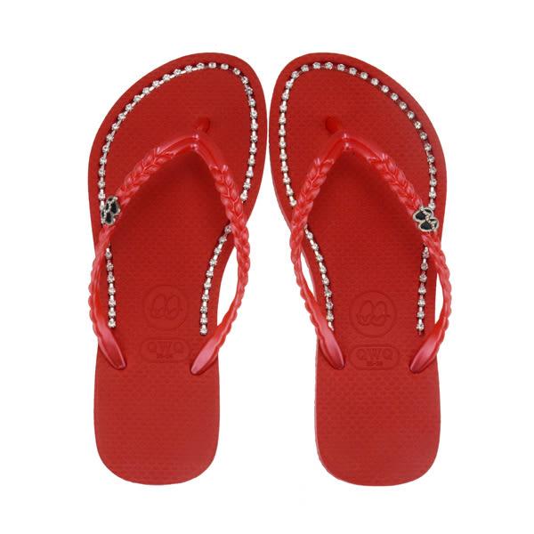 QWQ創意鞋- 璀璨面鑽 施華洛世奇水鑽夾腳人字拖鞋-搖滾紅 (璀璨晶鑽系列 )