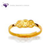 【YUANDA】『滾滾古錢』黃金戒指 活動戒圍-純金9999國家標準