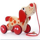 木制质动物拖拉玩具寶寶木制質動物拖拉玩具小狗手拉線繩 igo全館免運