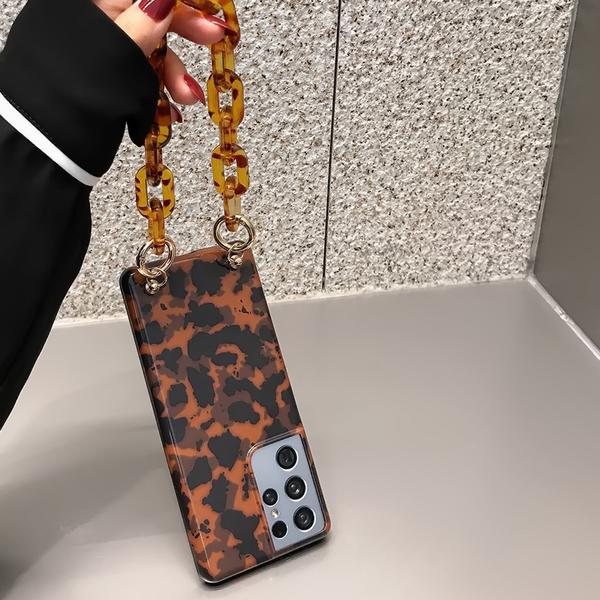 複古豹紋SamSung Note20保護套 琥珀色手Galaxy S21 Ultra手機套 三星日韓S20 Plus手機殼 三星S10保護殼
