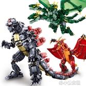 拼裝玩具 哥斯拉2怪獸之王拼裝積木模型玩偶拉頓基多拉玩具兒童 洛小仙女鞋YJT