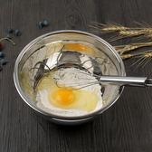 不銹鋼打蛋盆防滑打蛋器防飛濺色拉盤加厚和面攪拌盆廚房洗菜盆子【八五折優惠 最後一天】