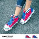 [Here Shoes] MIT台灣製 普普風撞色 星星線條 帆布鞋 休閒鞋 2色─KB808