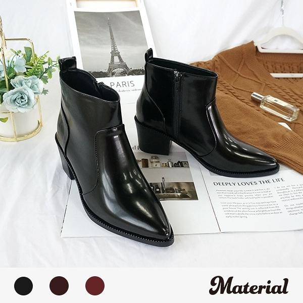 短靴 時尚尖頭亮面短靴 MA女鞋 T8098