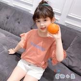 女童t恤短袖韓版上衣百搭休閒荷葉邊兒童半袖【奇趣小屋】