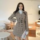 格子風衣洋裝裙5098#韓版帶收腰雙排扣...