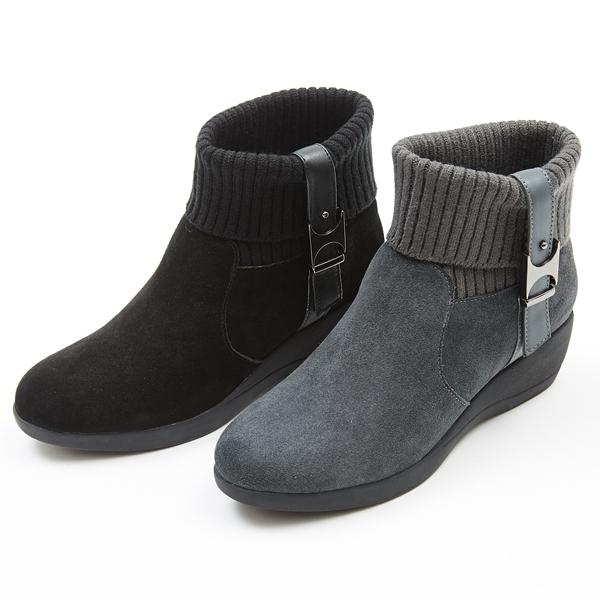 ★2017秋冬新品★kadia.針織拼接牛麂皮短筒靴(7719-93黑色)
