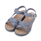 GOOD-DAY 交叉革面休閒涼鞋 淺藍 女鞋