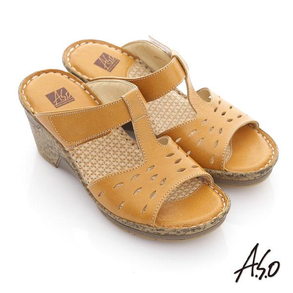 A.S.O 頂級氣墊 全真皮簍空奈米氣墊涼拖鞋-黃