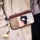 手機袋~雅瑪小舖日系貓咪包 啵啵貓拼接領巾手機袋/拼布包包