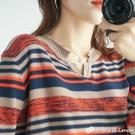 棉麻韓版女長袖秋裝新款寬鬆條紋大碼內搭薄...