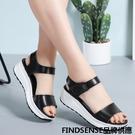 FINDSENSE品牌 新款 日本 女 高品質 真皮 個性黑白 純色 厚底增高