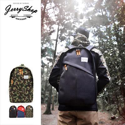 後背包 JerryShop【JB0HR01】潮流斜面剪裁後背包(3色)Outdoor風格 筆電包 休閒