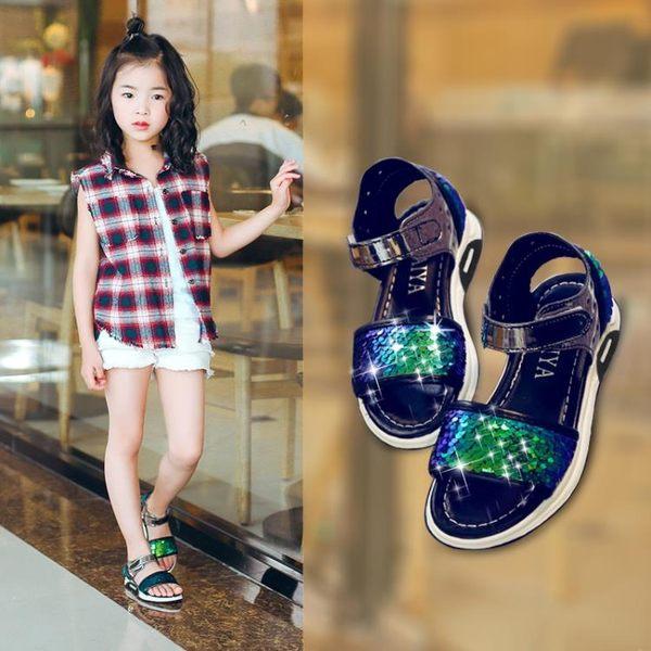 兒童女涼鞋新款正韓公主童鞋女孩軟底沙灘鞋【快速出貨八折搶購】