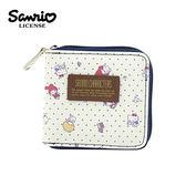深藍款【日本正版】三麗鷗人物 皮質 短夾 皮夾 錢包 凱蒂貓/美樂蒂/雙子星 Sanrio - 003420