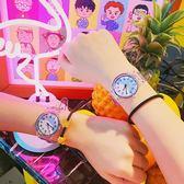 可愛創意夏季百搭休閒男女軟妹趣味透明手錶日系黑白情侶學生腕錶【快速出貨】