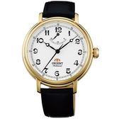 【台南 時代鐘錶 ORIENT】東方錶 動力顯示復古手上鍊機械錶 FDD03001W 皮帶 金 40mm