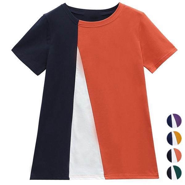三色拼接圓領上衣(4色) M~4XL【453431W】【現+預】-流行前線-